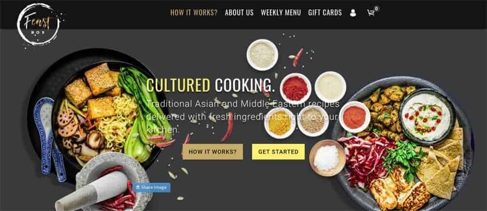 Screenshot of feastbox page showing small bowls of spices and two plates of food