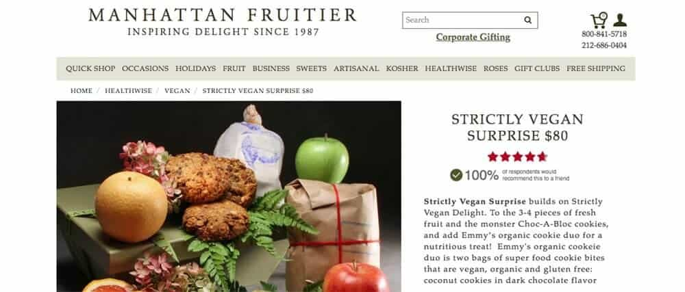 A vegan hamper containing fruit and cookies from Manhattan Fruitier