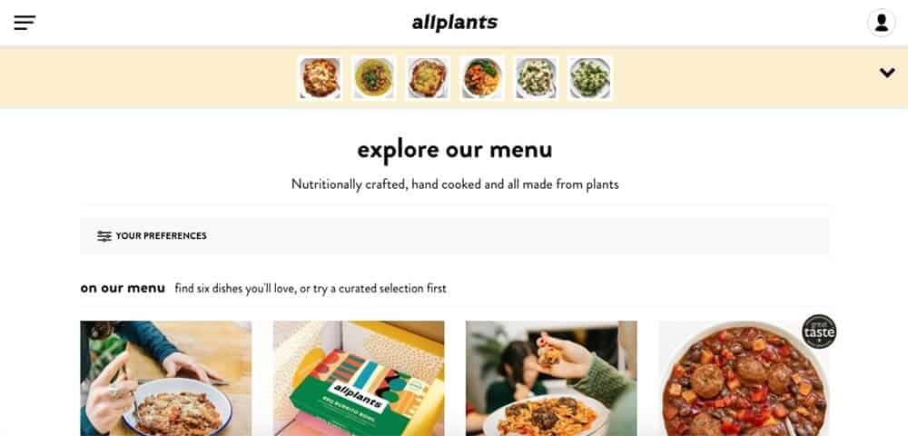 Screenshot of vegan meal delivery uk - allplants page showing bowls of food and packaging