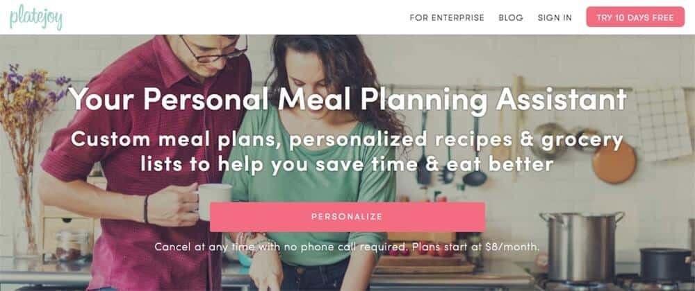 Screenshot of PlateJoy site showing a couple cooking together