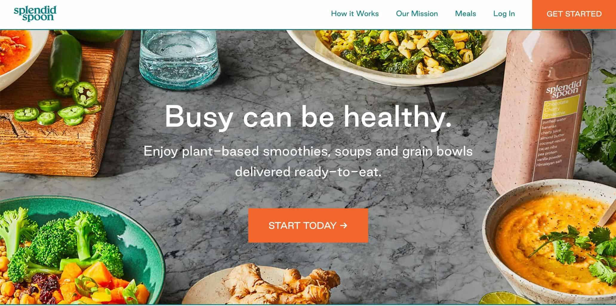 Screenshot of Splendid Spoon website showing table with smoothie, veggie bowls and dip on it