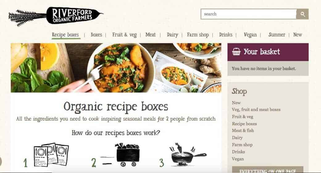Screenshot of vegan organic meal delivery uk - riverford's page showing a bowl of sweet potateos and a chopping board