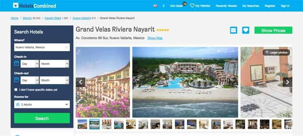 Screenshot of booking site for Grand Velas