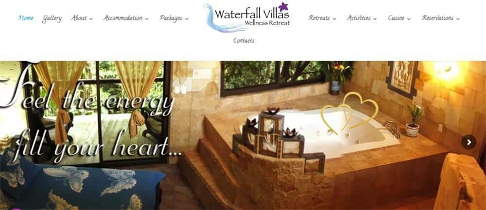 Screenshot of Waterfall Villas' website, showing a room with a bathtub. Looking for vegan resorts Costa Rica? Waterall Villas is a vegan wellness retreat in Costa Rica
