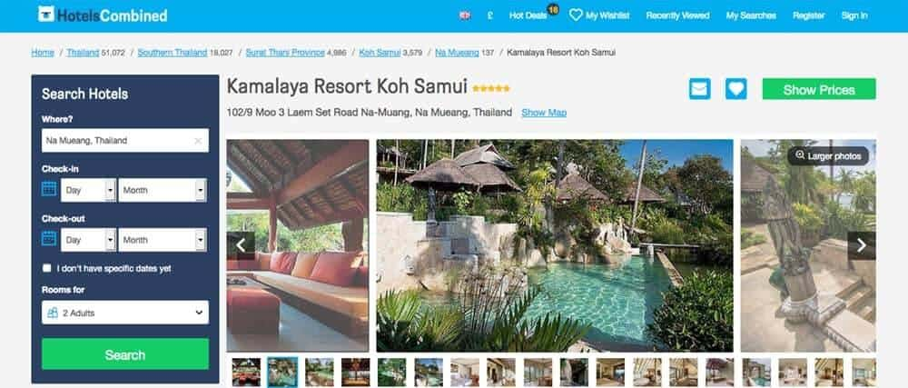 Screenshot of Kamalaya site showing pool