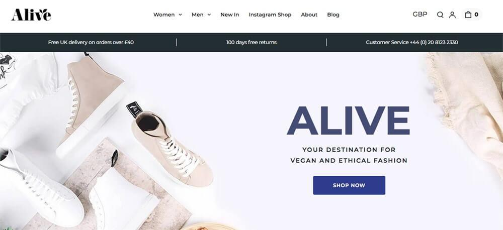 Screenshot of Alive site showing white and taupe trainers