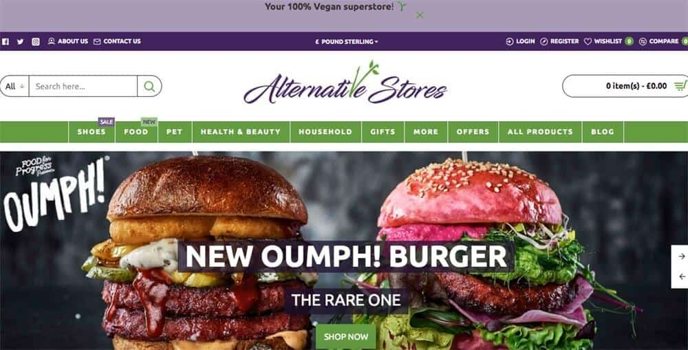 Screenshot of the Alternative Stores site showing burgers