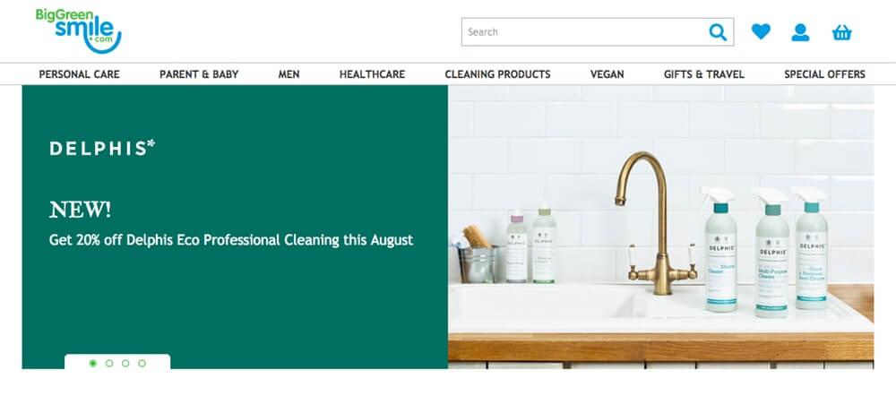 Screensoht of Big Green Smile site showing a sink with cleaning products on the side