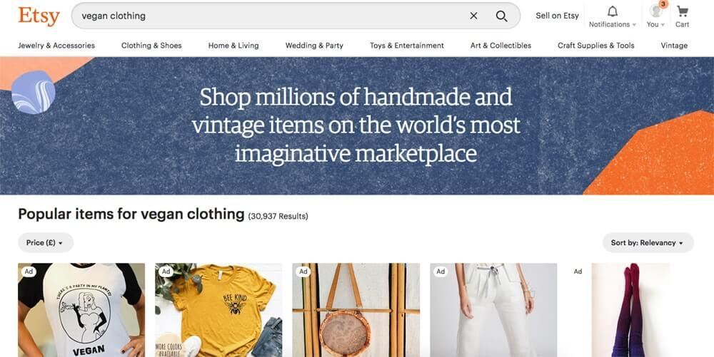 Screenshot of Etsy page showing tshirts, a bag and jeans
