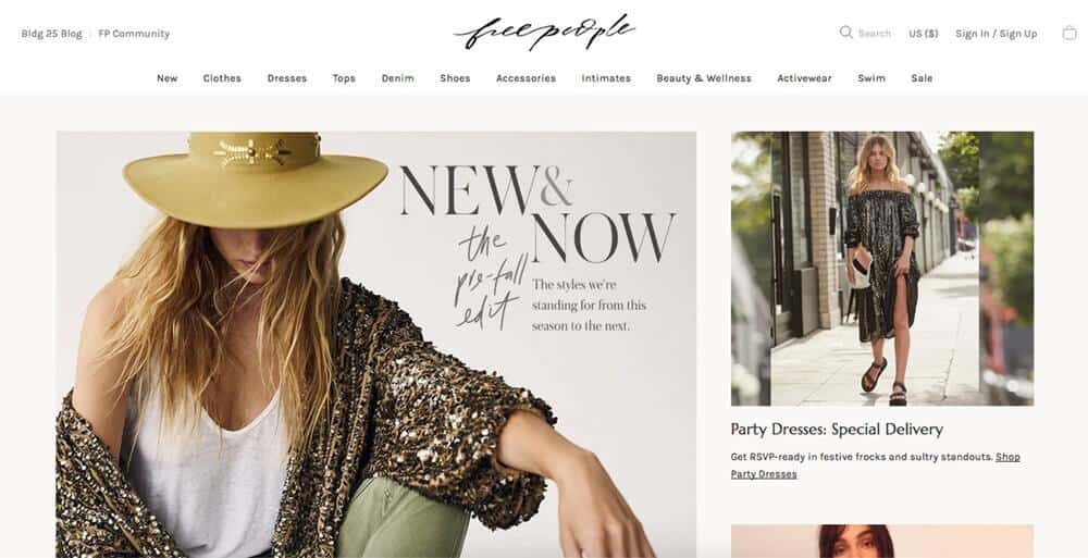 Screenshot of Free People page showing different outfits