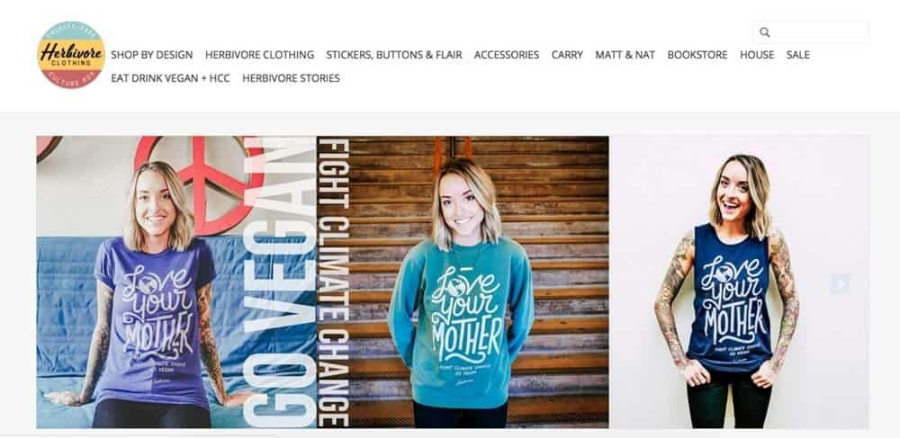 Screenshot of Herbivore page showing woman wearing t-shirts and sweatshirt