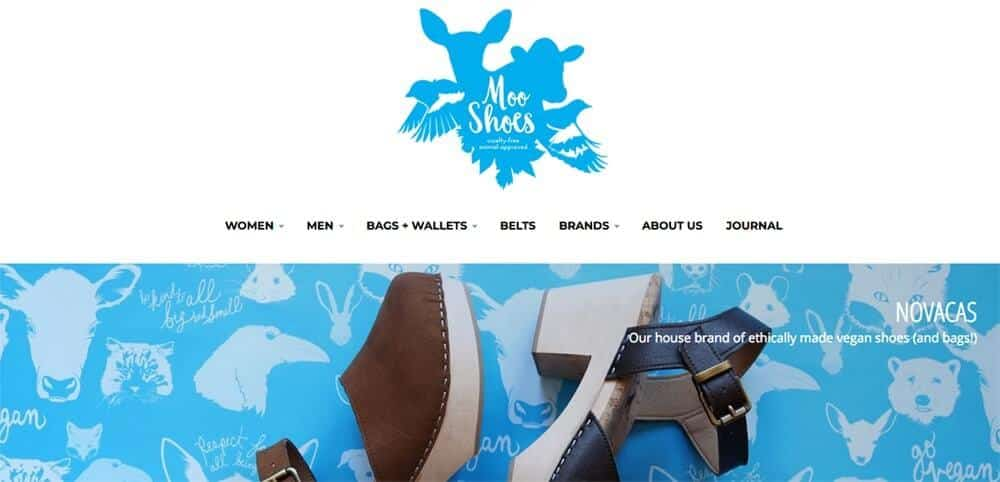 Screenshot of Moo Shoes site showing platform shoes