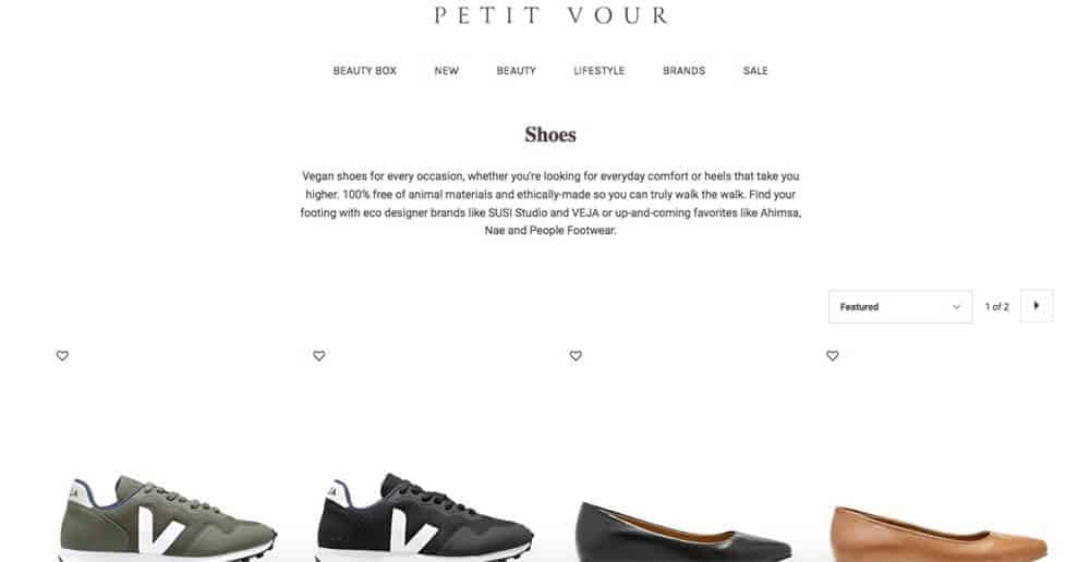 Screenshot of Petit Vour page showing shoes
