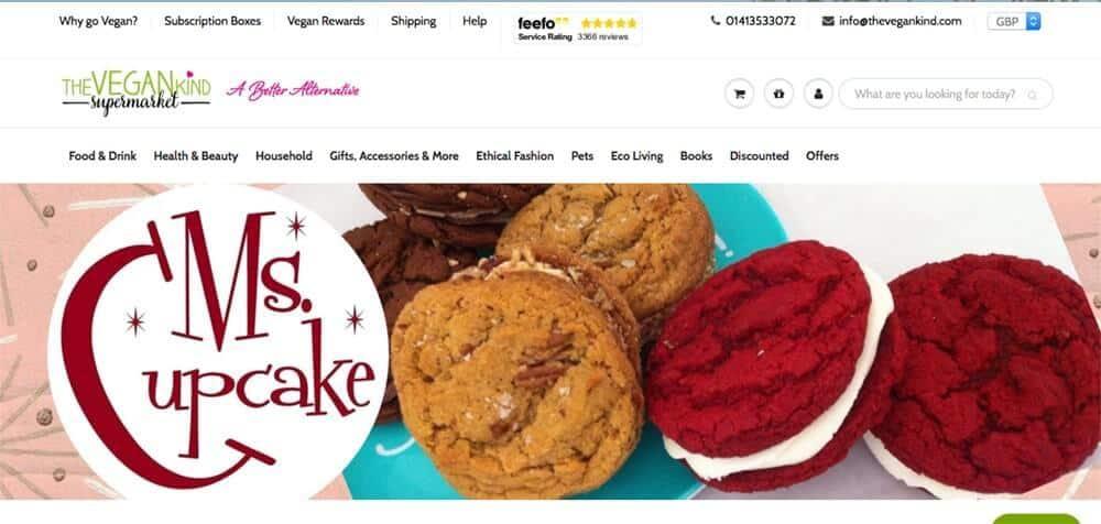 Screenshot of The Vegan Kind site showing cookies