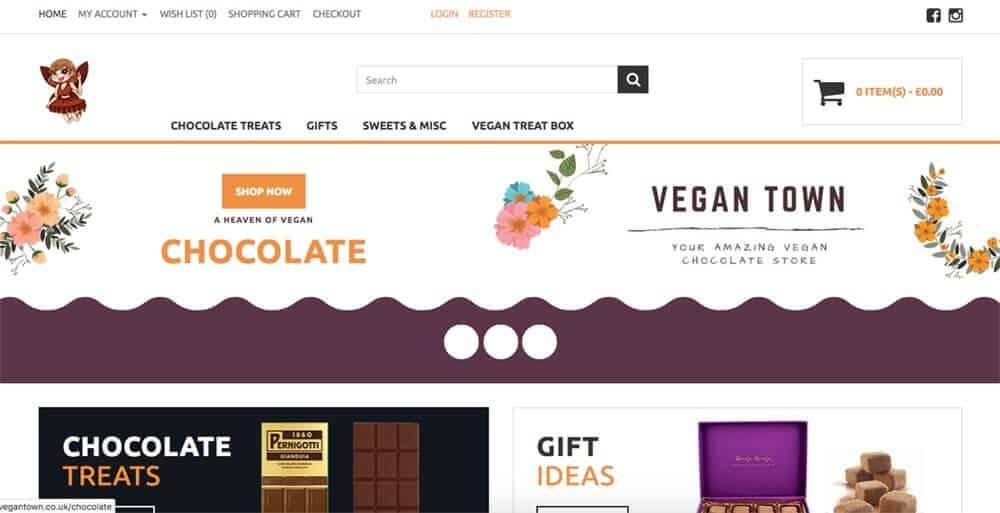 Screenshot of Vegan Town page showing chocolates