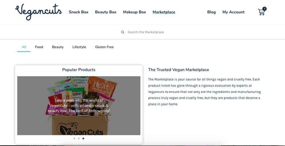Screenshot of Vegancuts site showing a box full of snacks