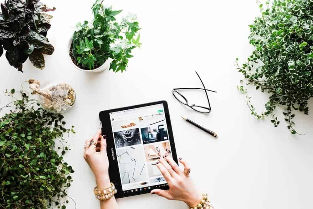 Hands holding a tablet and surrounded by plants. Click here to see the online vegan store directory.