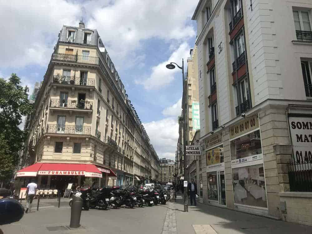 An intersection in Paris with a typical corner brasserie