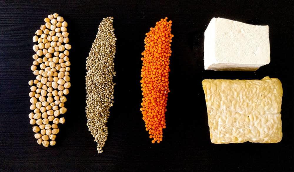 Beans, lentils, tofu and tempeh