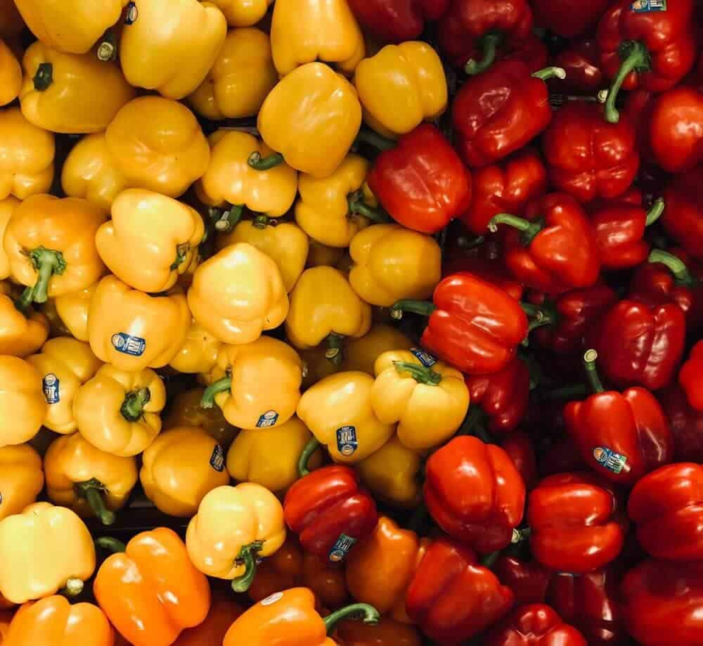 Yellow and red bell peppers