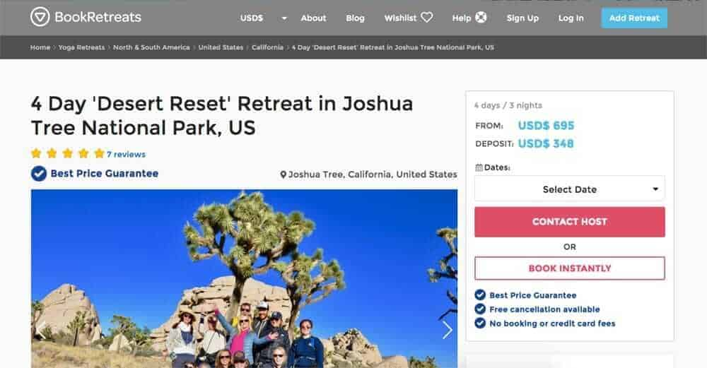 Screenshot of booking page showing group of people in front of trees and rocks