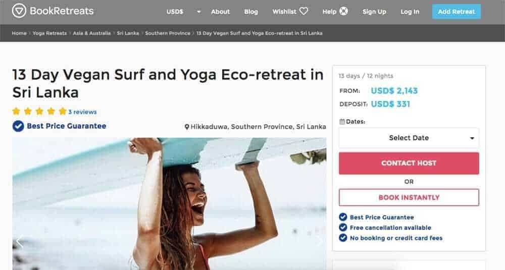 Screenshot of booking site showing woman carrying a surfboard over her head