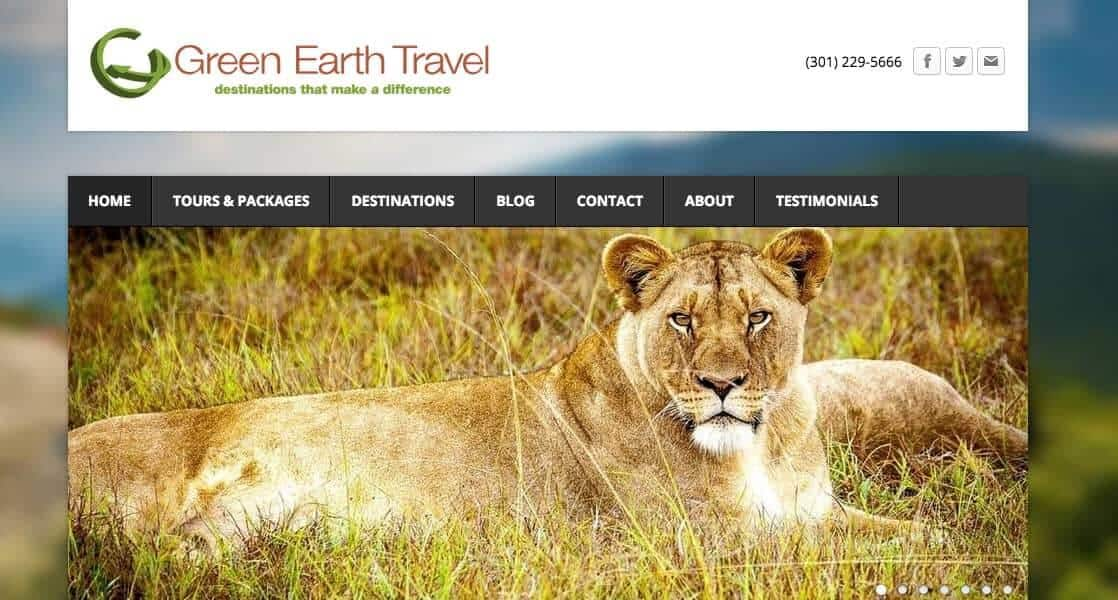 Screenshot of Green Earth Travel page showing a lion