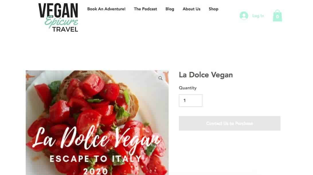 Screenshot of Vegan Epicure Travel page showing bread with cubed toamto and basil
