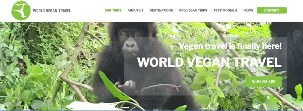 Screenshot of World Vegan Travel page showing an orangutan