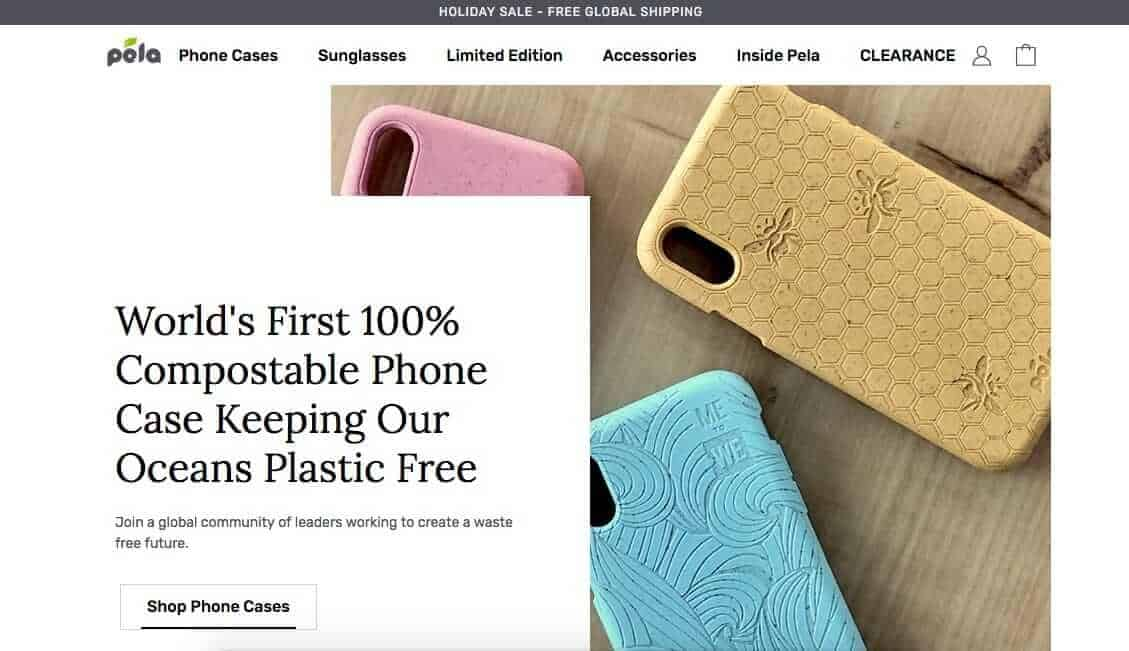 Screenshot of the Pela case website showing a yellow phone case with bees, blue case with swirling designs and a pink case