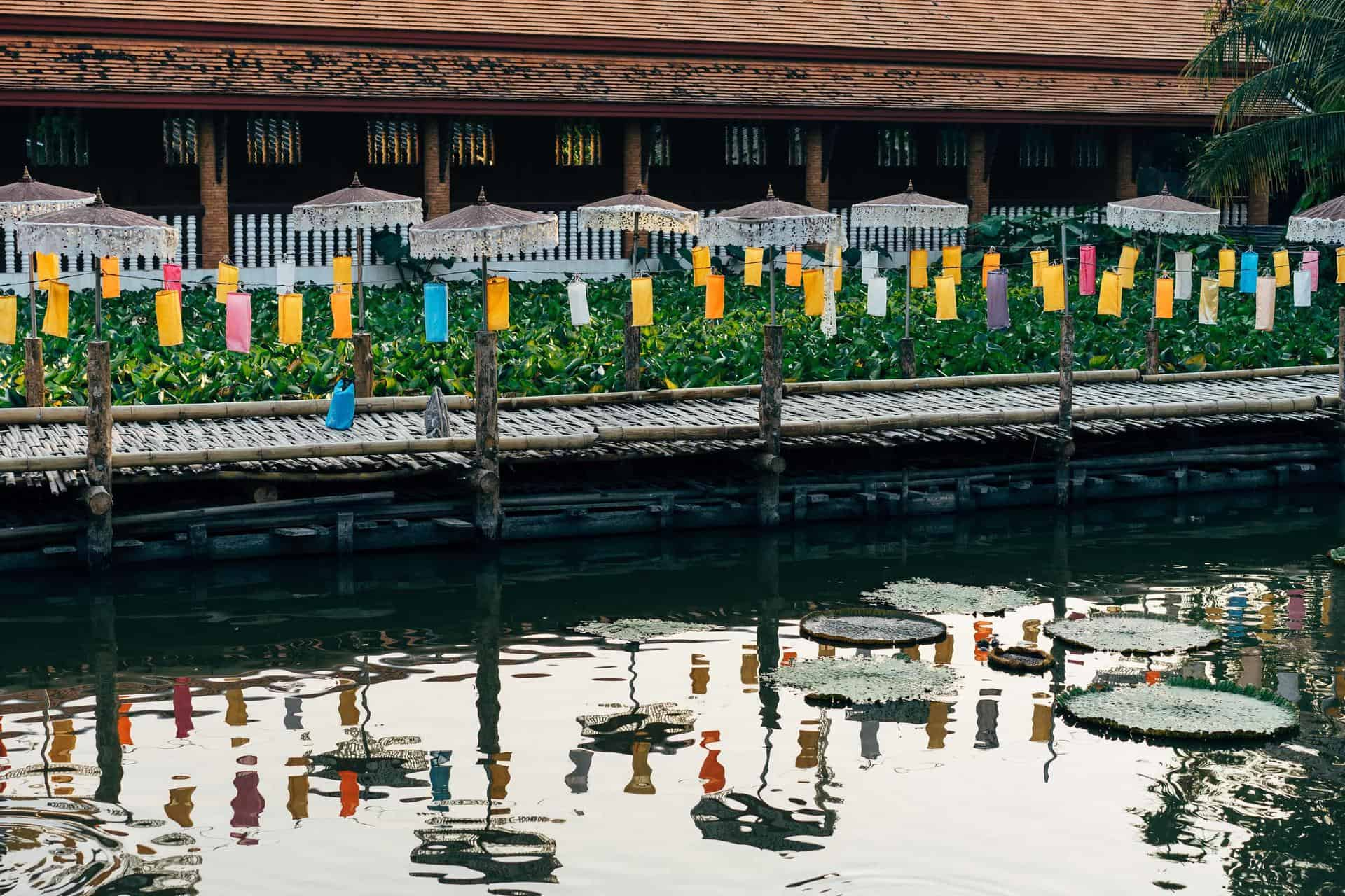 Lanterns reflected in the water