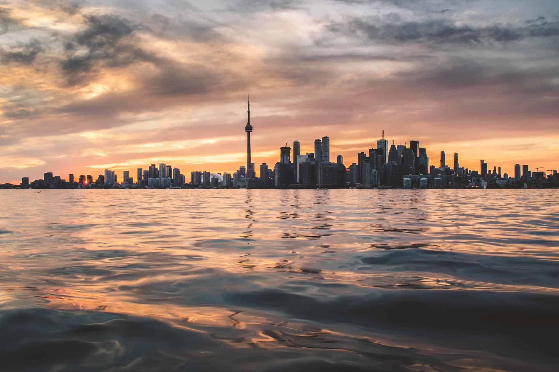 Toronto skyline at sunset, picture taken from the water