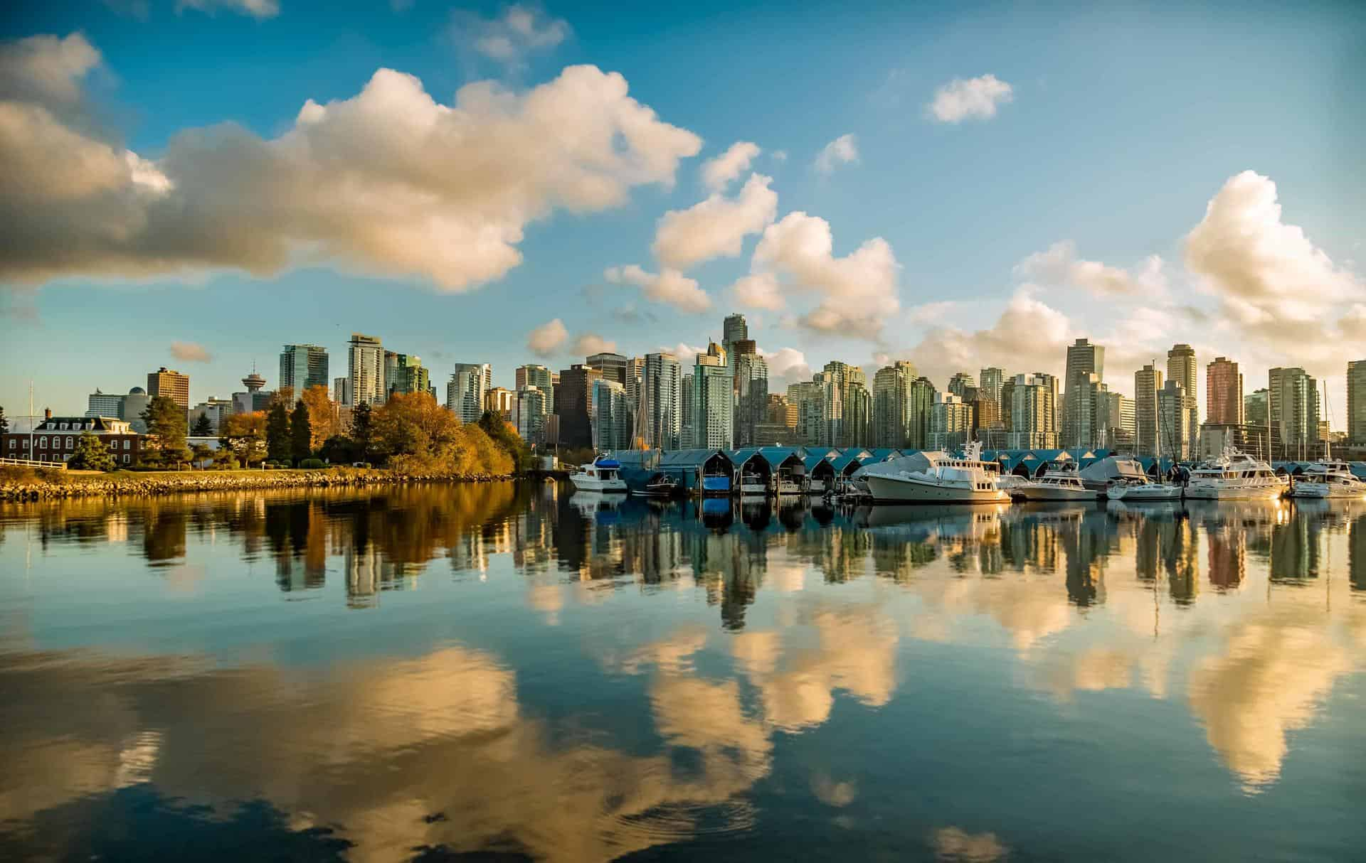 The skyline reflected in the water