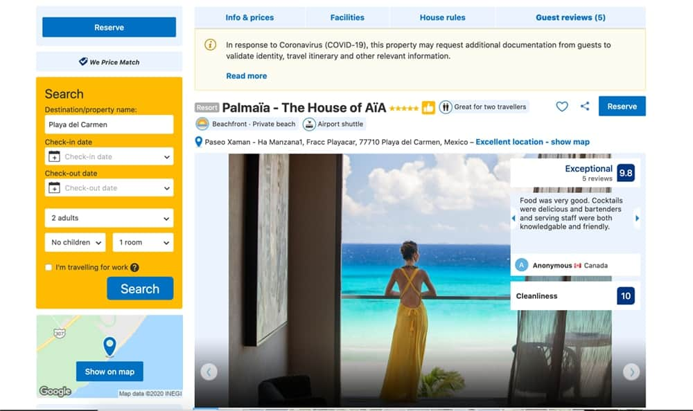 Screenshot of Palmaia booking page showing woman looking out at ocean