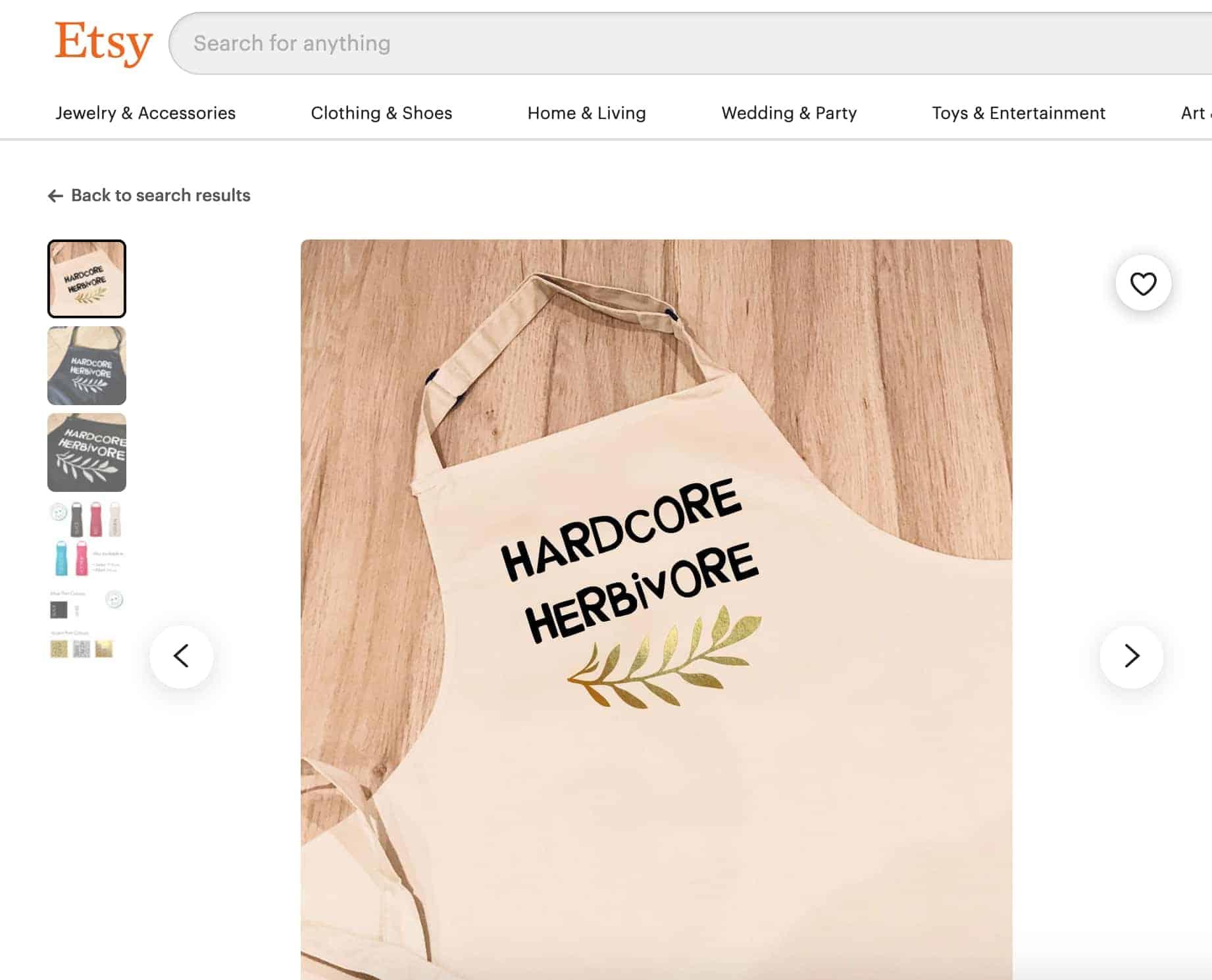 """Apron that says """"Hardcore Herbivore"""" on it"""