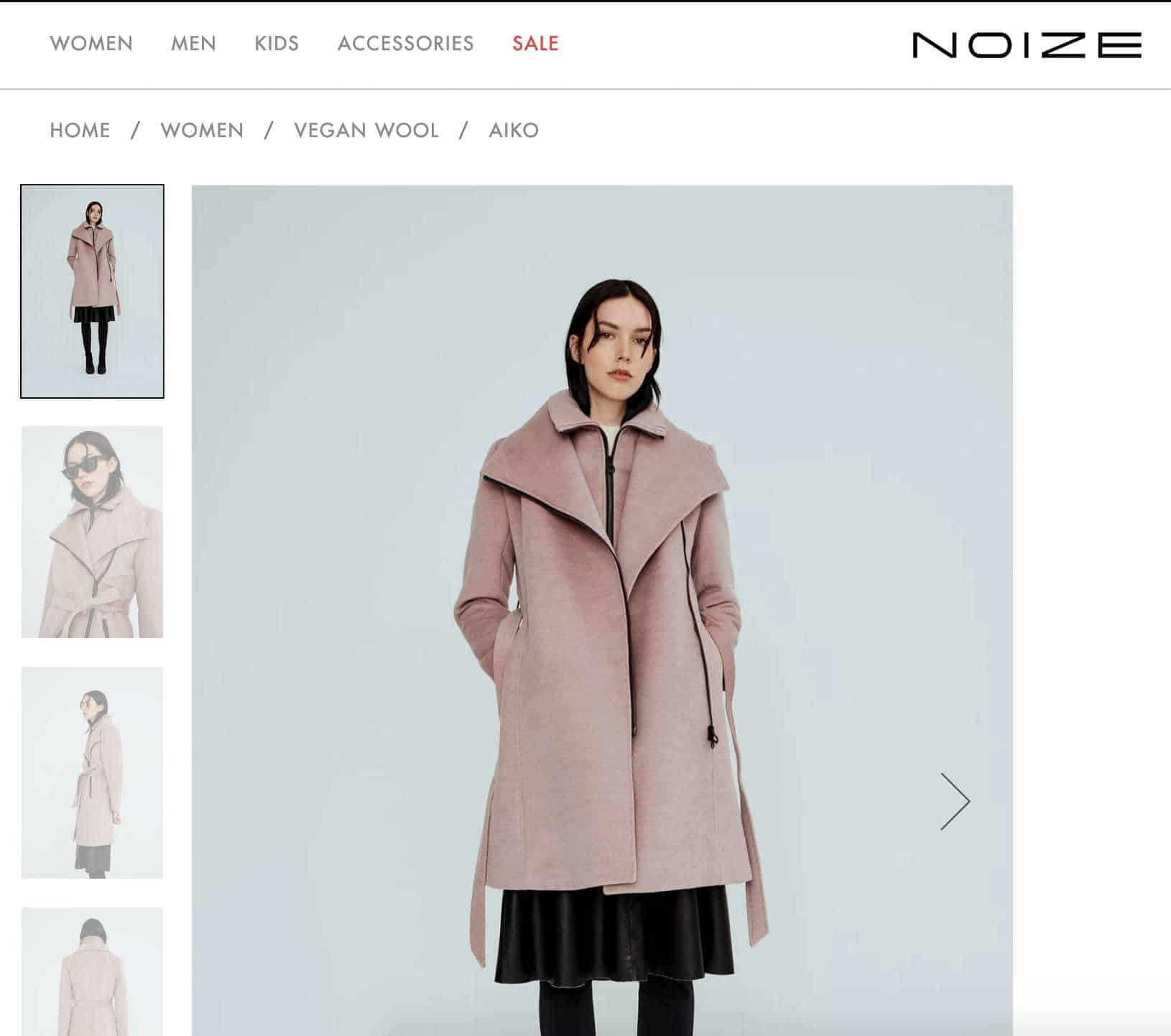 Girl wearing long, pink coat, unbelted